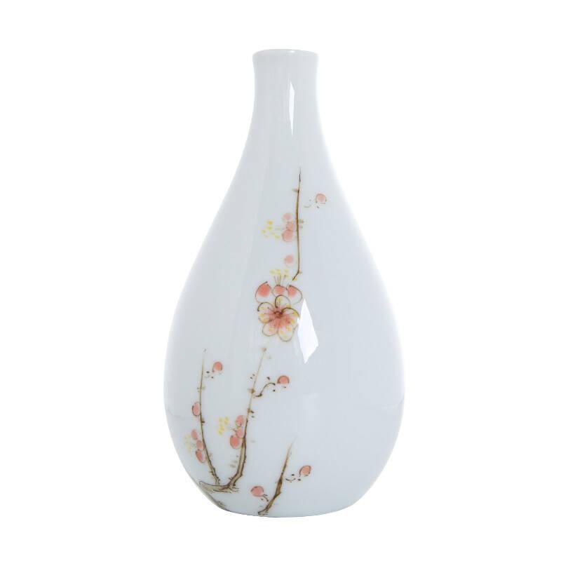 德化白瓷手绘小花瓶玉瓷迷你水培花器摆件