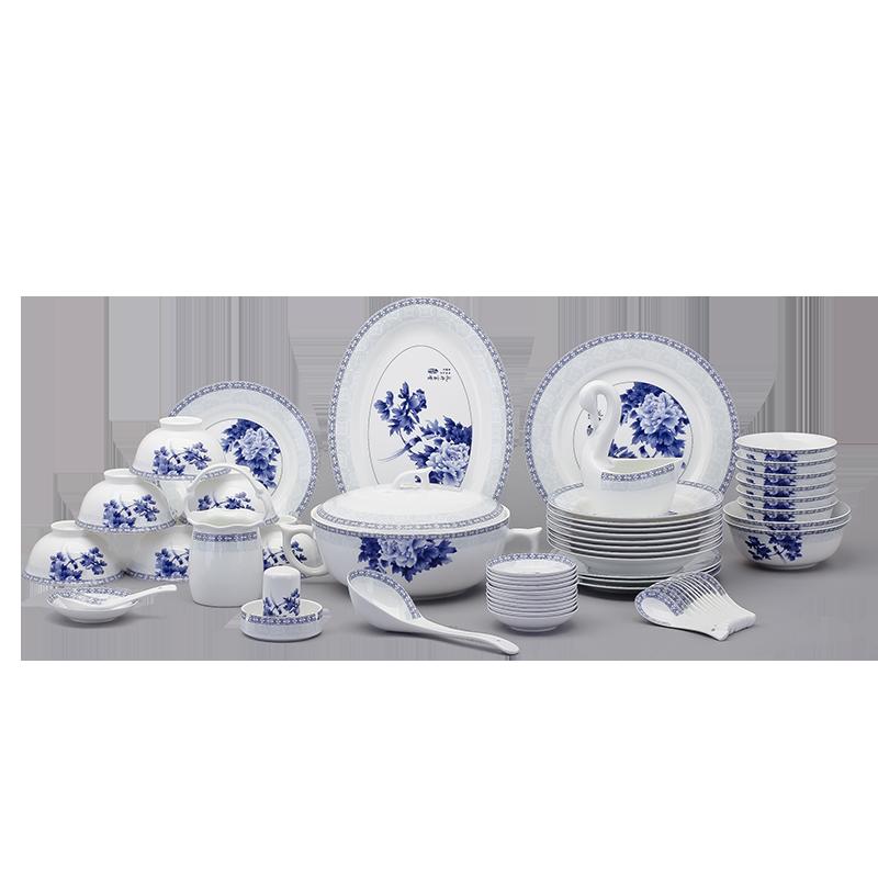洛威 景德镇餐具套装 68头中式陶器青花瓷骨瓷餐具碗碟套装