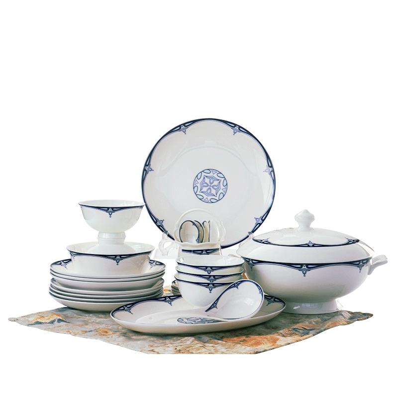 洛威 景德镇青花瓷釉中彩骨瓷餐具中式碗筷盘高档碗碟套装家用吃饭送礼 堇色安年