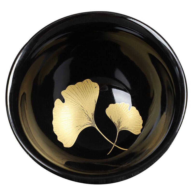 铁胎黑釉建盏茶杯金叶子窑变功夫茶杯
