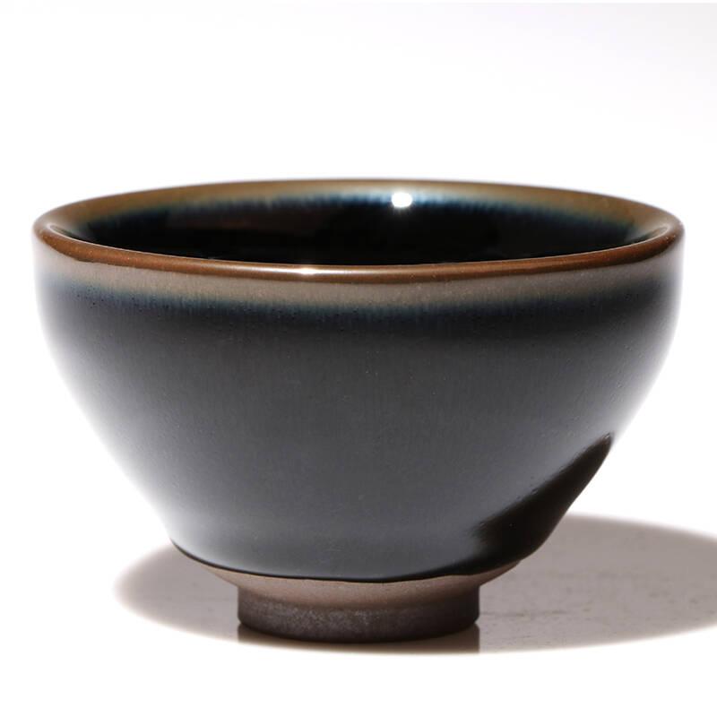 仿古宋代乌金釉黑瓷束口建盏茶杯茶具