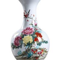 景德镇粉彩牡丹花瓶客厅家居工艺品摆件