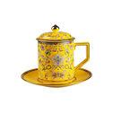 高淳陶瓷珐琅彩龙凤杯骨瓷高温色釉描金茶杯