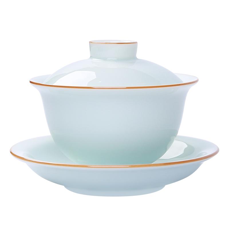 家用带盖不烫手青白瓷三才盖碗茶杯
