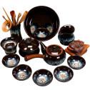 窑变天目釉建盏茶具套装 家用整套钧窑茶具茶壶茶杯套装组