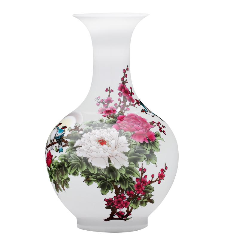 景德镇陶瓷器小花瓶摆件插花新中式家居客厅酒柜装饰品工艺博古架