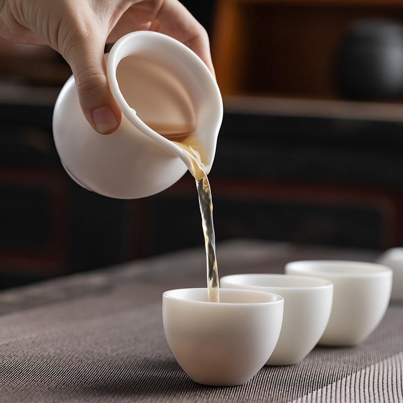 德化陶瓷羊脂玉白瓷功夫茶具套装整套家用客厅办公室会客礼盒装