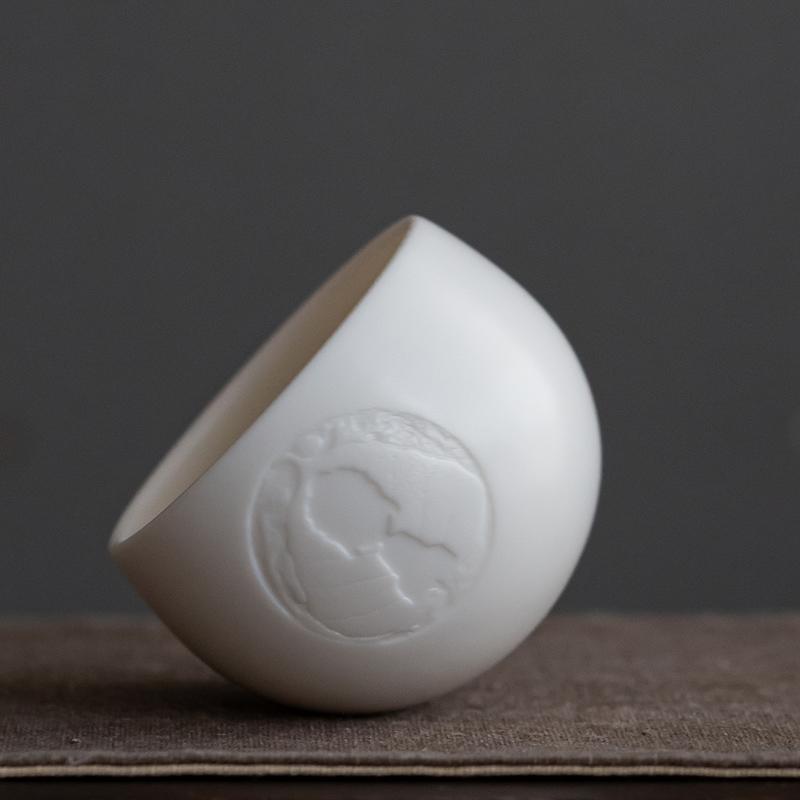 德化陶瓷大佛不倒杯羊脂玉白瓷主人杯单杯功夫茶杯个人专用浮雕