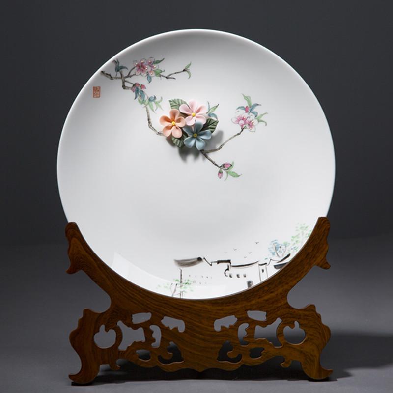 德化陶瓷羊脂玉白瓷挂盘摆件张丽娇手绘盘子装饰品艺术品轻奢网红