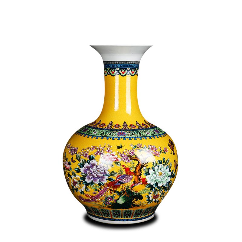 景德镇陶瓷器落地大号花瓶客厅家居摆件玄关珐琅彩花鸟金绿色赏瓶